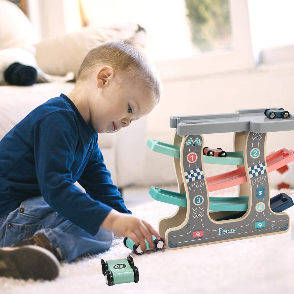 Купить с кэшбэком Baby Kids Wooden Ladder Gliding Car Wooden slot Track Car Toys Educational Model to Slide toy for children boy gifts