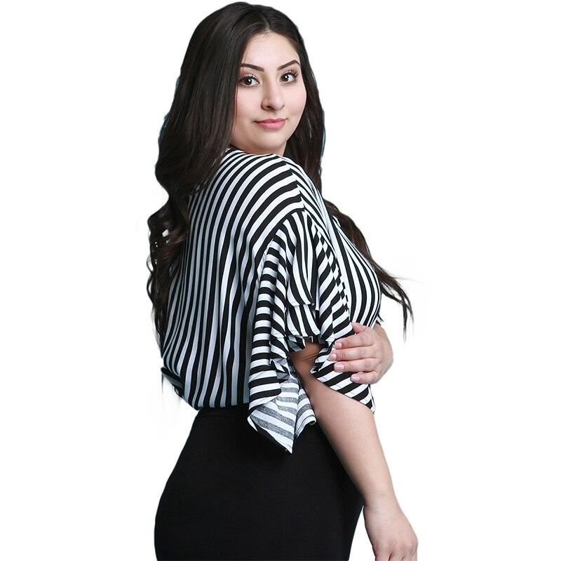 Kissmilk Plus Size Women Casual Black And White Stripe Print Half Ruffles Sleeve Tops Blouse Loose Basic O Neck Long Shirt 2