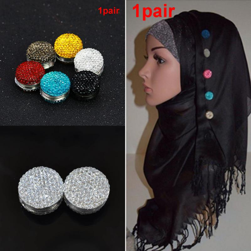 2Pcs Headscarf Magnetic Pin Headscarf Abaya Clasp Brooch Shawl Magnet  Women Scarf Pin Elegant Fashion Hair Accessories