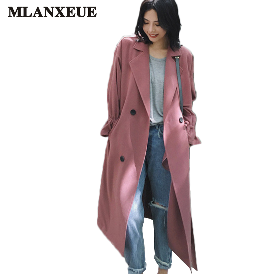 Autumn Women Long   Trench   Coat Ladies Casual Turn-down Collar Winter Coats Double Breasted Windbreaker Plus Size Female Overcoat