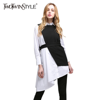 TWOTWINSTYLE 2017 Summer Women Two Piece Set Long Sleeves Asymmetrical White Shirts Blouses Tops Lace up Black Vest Tanks Suit