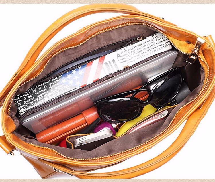 Women Oil Wax Leather Designer Handbags High Quality Shoulder Bags Ladies Handbags Fashion brand PU leather women bags WLHB1398 24