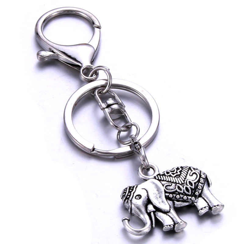 Personalized elephant shape keychain handmade stainless steel gift private custom for lovers friends a variety of styles