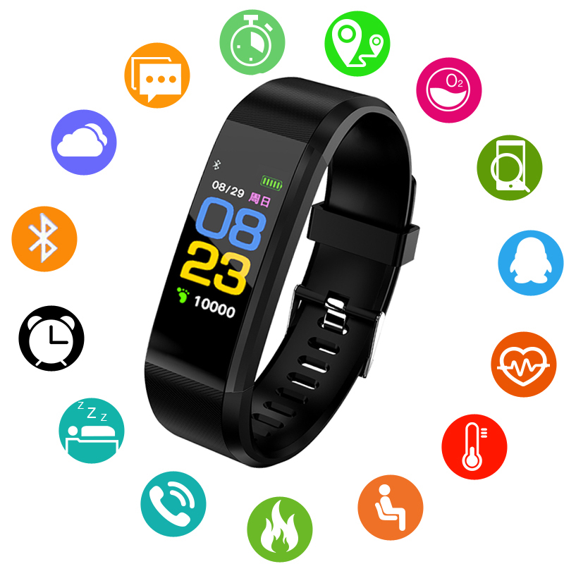 2018 Nouveau Bracelet à puce Surveillance de la Pression Artérielle de Fréquence Cardiaque Sport Smart bracelet LED Écran Couleur Fitness Tracker PK mi bande 3