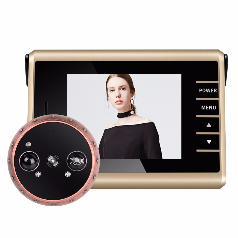 Wireless Door Peephole Camera with Doorbell PIR Motion Detection Door Camera 3.0 LCD Electronic Video Recording F1427D new arrival pir motion detection door camera 3 2 lcd electronic video recording wireless door peephole camera with doorbell