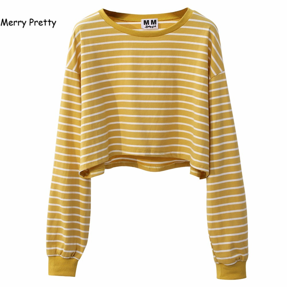 MERRY PRETTY 2017 Autumn Long Sleeve Crop Tops Women Fashion Chic Style O-neck Striped Sweatshirts Patchwork Short Pullovers