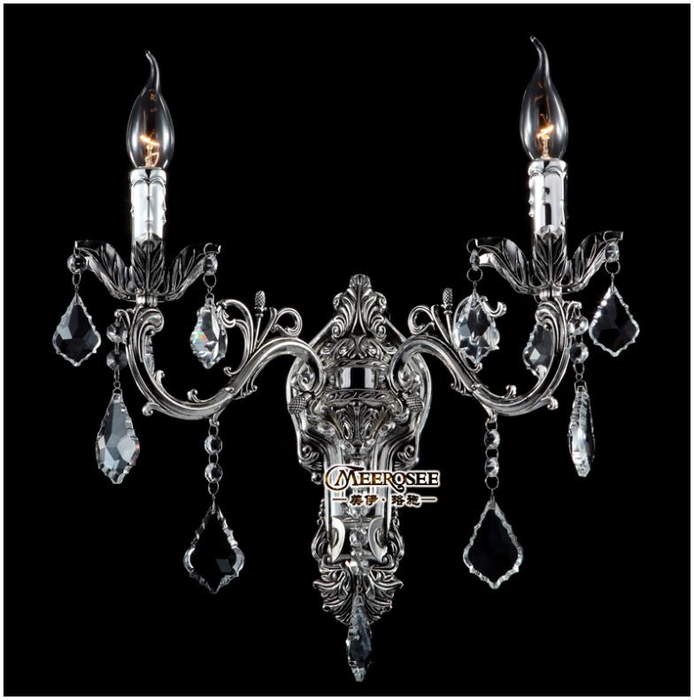 Classic Golden Crystal Wall Light Fixture Silver Wall Sconces Lamp Crystal Wall Brackets Light 2 Lights Free Shipping in Wall Lamps from Lights Lighting