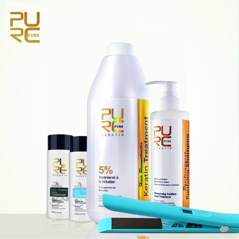 PURC Brésilienne défrisage kératine traitement de soins capillaires gros kératine et shampooing et conditionneur de cheveux fer plat
