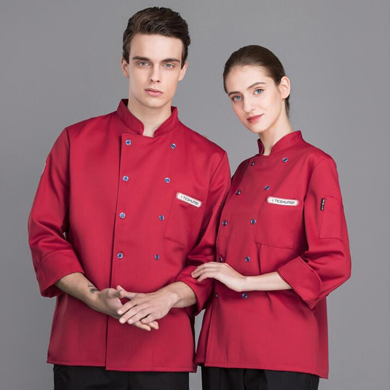 Chef's Work Clothes Long Sleeves Baking Cake Shop Workwear Restaurant Kitchen Fast Food Shop Men Women Plus Size Overalls H2039