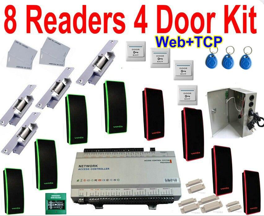 4 Tür Panel Kit Volle Paket Mit 4 Tür Controller Panel Board Tcp/ip Lan Netzwerk + Web Browser Ip Control + Doppel Weg Verwalten Kit Warm Und Winddicht
