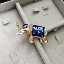 Vanssey Vintage Elephant Heart Blue Enamelled Branch Leaf Brooch Pin Scarves Wedding Accessories for Women 2018 New