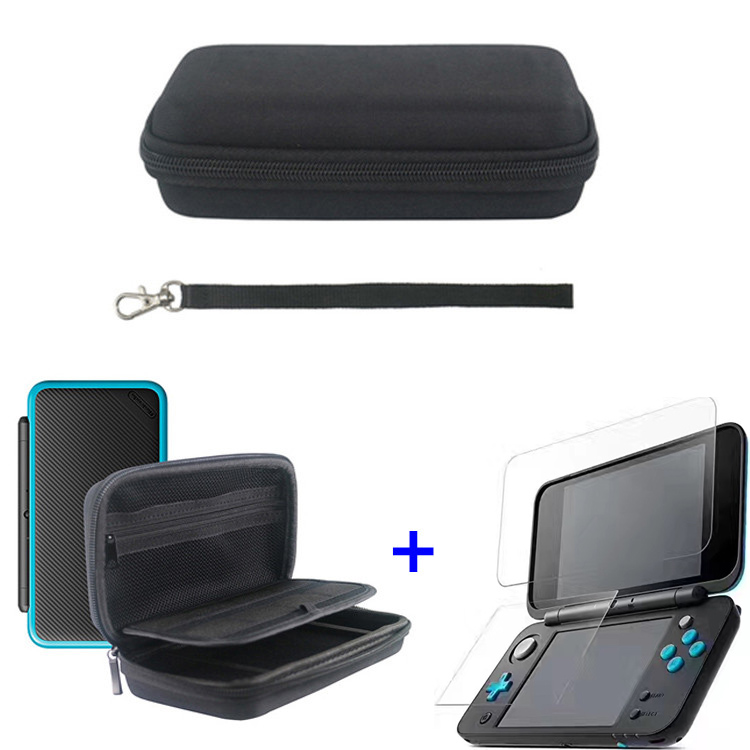 For Nintendo New 2DS LL/XL Game Console Travel Storage Bag Nylon Hard Carrying Case Cover Handle Bag+Tempered Screen Protector