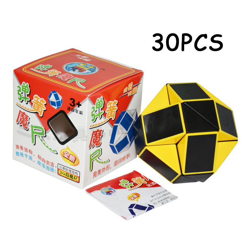 Magic Cubes 30pcs Shengshou Yellow Black 24 Sections Cubo Magico Snake Ruler Magic Cube Speed Twist Puzzle Toys For Children Anti Stress Toy
