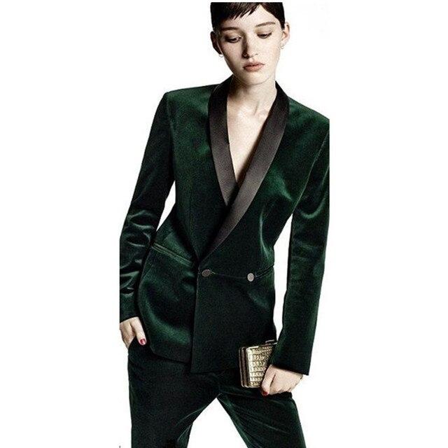 Por encargo Pantalones traje verde oscuro mujeres de