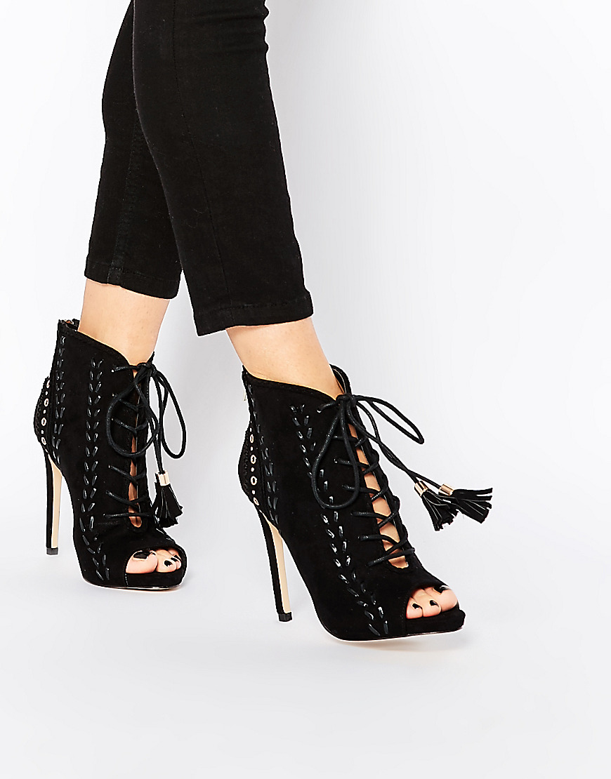 young girl's black suede open toe lace up ankle sandal boots stiletto heel fringe dress shoes braid embellished party shoes black sequins embellished open back lace up top