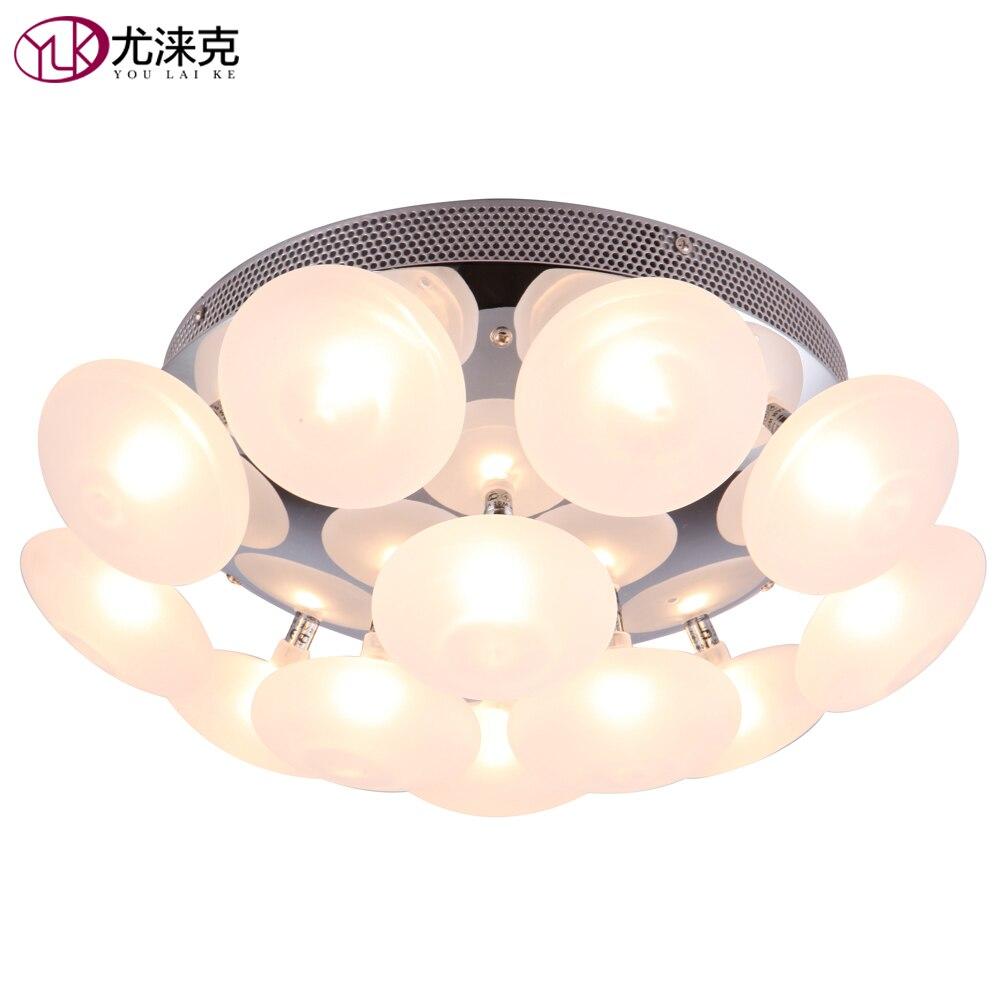 Blanc givré verre moderne lustre pour chambre 12 lumières oeuf boule de verre lumière nouveau design