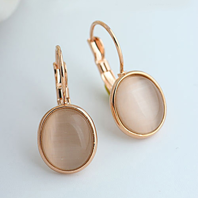 MOONROCY Free Shipping Fashion Earrings Jewelry Trendy Rose Gold Color Austrian Crystal Opal Earrings Wedding For Women Gift