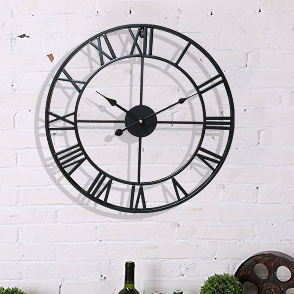 40/47CM Nordic Metal Roman Numeral Wall Clocks Retro Iron Round Face Black Gold Large Outdoor Garden Clock Home Decoration(China)