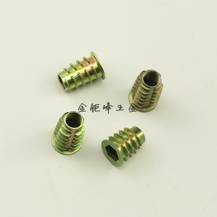 """125 Pcs Threaded Soft Wood Insert Hex Flanged 3//8/"""" 16 Internal Threads 25mm Zinc"""