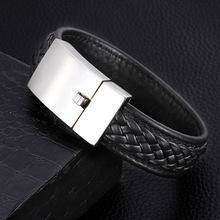 Granny Chic Genuine Leather Bracelet 22.5cm Gold/Silver Color Stainless Steel Buckle Special Jewelry For Men Fathers Day Gift