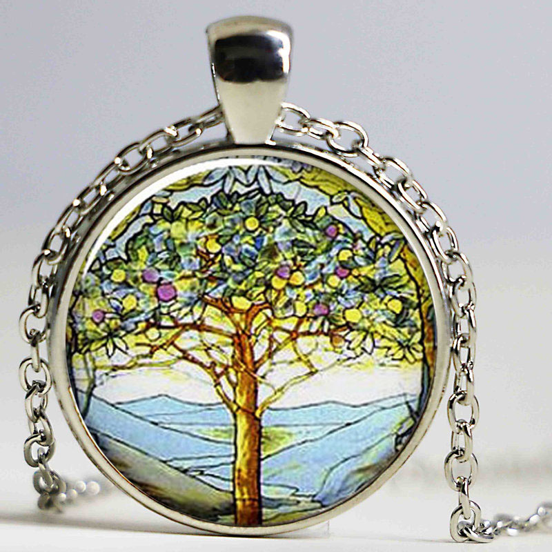 Us 2 69 10 Off Weeping Willow Tree Necklace Photo Pendant Jewelry Altered Art Gl Dome Cabochon In Necklaces From