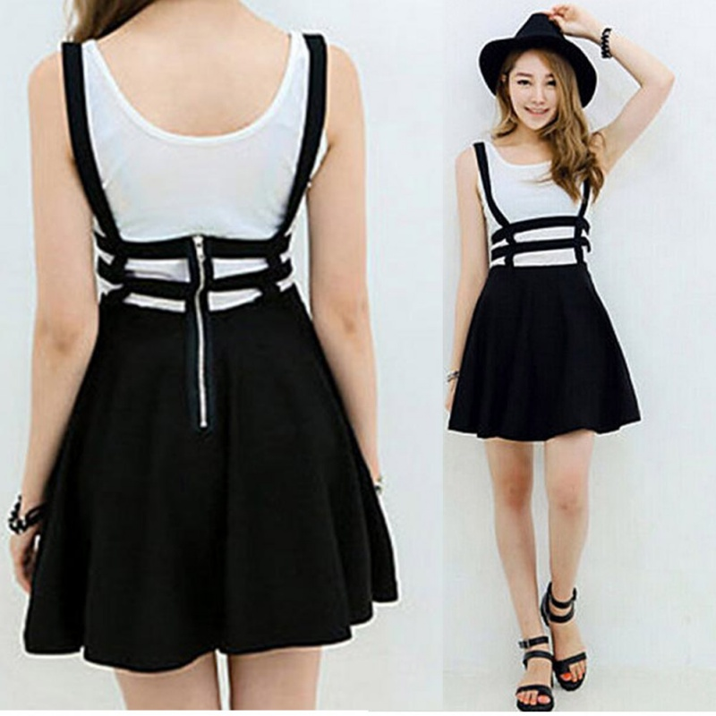 Women Mini Skater Skirt Cute Women Suspender Clothes Straps High Waist Skirt Summer Solid Party Mini Short Skirts