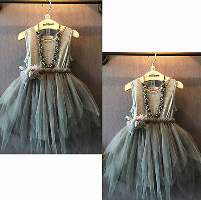 2016 Summer Girls Dress Kids Vintage Gray Sleeveless Solid Pleated Bow Flower Cottoon Tulle Kids Sequins Party Dress 2-7T