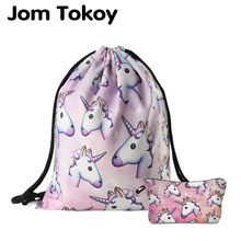 Jom Tokoy 2018 New fashion 2 PCS Stampa 3D Donne zaino unicorno Borsa con coulisse Set combinazione