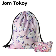 Jom Tokoy 2019 New fashion 2 PCS 3D Printing Women backpack unicorn Drawstring bag Set Combination