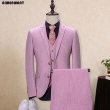 AIMENWANT 2017 moda rosa púrpura solo pecho traje para los hombres tamaño  por encargo tamaño Personal equipado chaqueta + Pantal. a54a86b8c1f