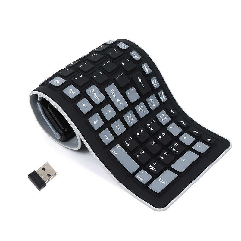 c56c0fe3d00 Portable USB Silicone Keyboard For Laptop PC Flexible Waterproof Foldable Keyboard  Wireless Soft Keys Mini Cover