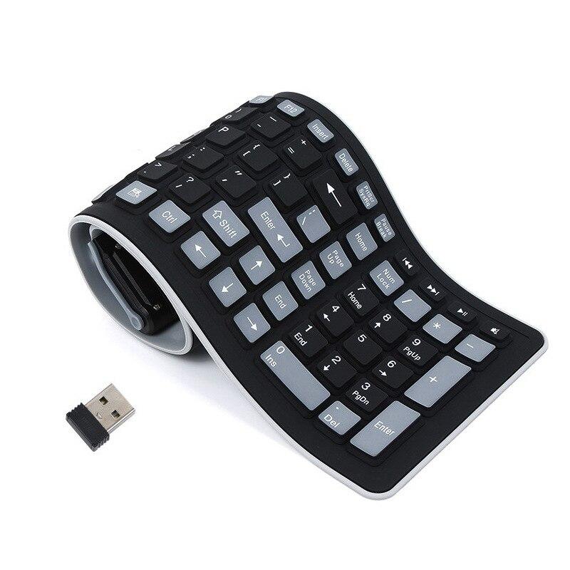 Teclado de Silicone para Portátil Flexível à Prova Dobrável sem Fio Portátil Dwireless Água Teclado Teclas Macias Mini Capa Notebook Usb pc