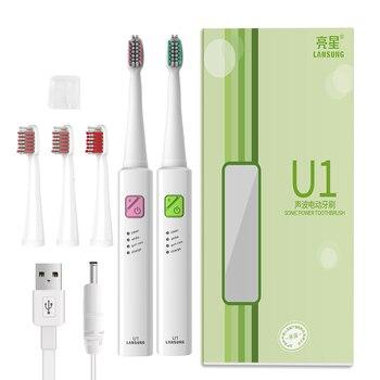 Lansung U1 Sonic Điện Bàn Chải Đánh Răng Với 4 Đầu USB Có Thể Sạc Lại Điện Tử Bàn Chải Đánh Răng Vệ Sinh Răng Miệng Bàn Chải Điện Răng