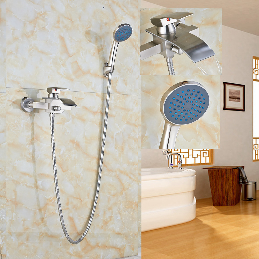 Brushed Nickel Waterfall Bathtub Faucet Hand Shower Sprayer Wall Mount Mixer Tap
