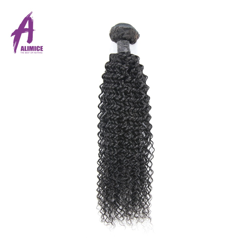 Alimice Hair Brazilian Kinky Curly Weave Human Hair Bundles Natural Color 10-26inch 1 Piece Non-remy Hair Free shipping