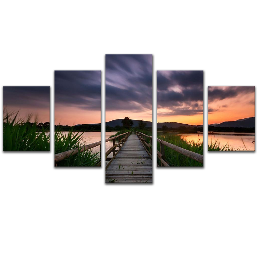 Unframed 5 HD Canvas Prints Boardwalk Sunset Giclee Modular Picture Prints Wall Pictures For Living Room Wall Art Decoration