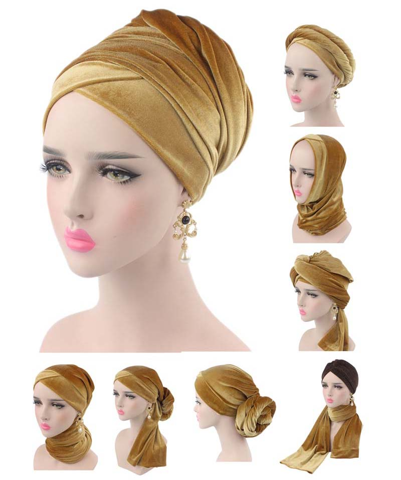 NEW Luxury Pleated Velvet Magic Turban Hijab Head Wrap Extra Long Tube Indian Headwrap Scarf Tie