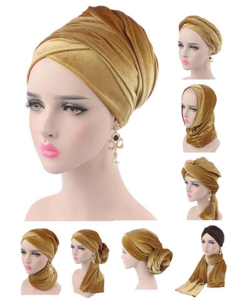 Nuevo lujo plisado terciopelo mágico turbante hijab cabeza envoltura Extra largo tubo indio cabeza bufanda corbata