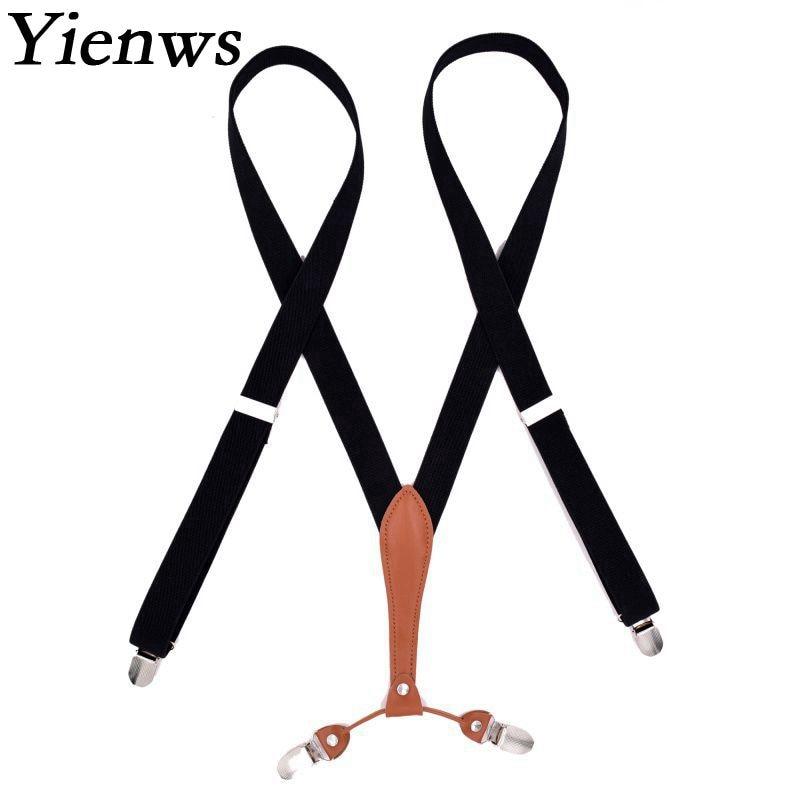 Yienws Suspensorio Adult Stylish Leisure Womens Suspenders for Pants Pink 4 Clip Jartiyer Braces Female Wholesale YiA032