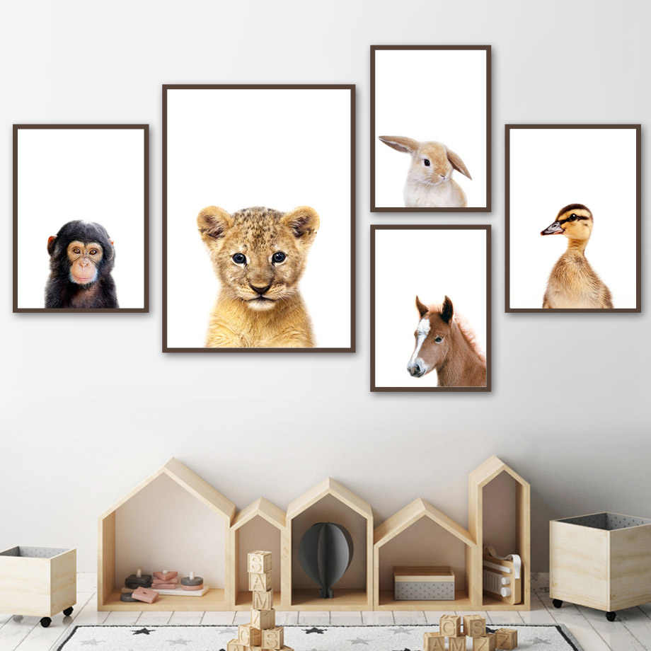 Nordic Posters And Prints Bear Rabbit Tiger Horse Monkey Animals Wall Art Canvas Painting Wall Pictures Baby Kids Room Decor