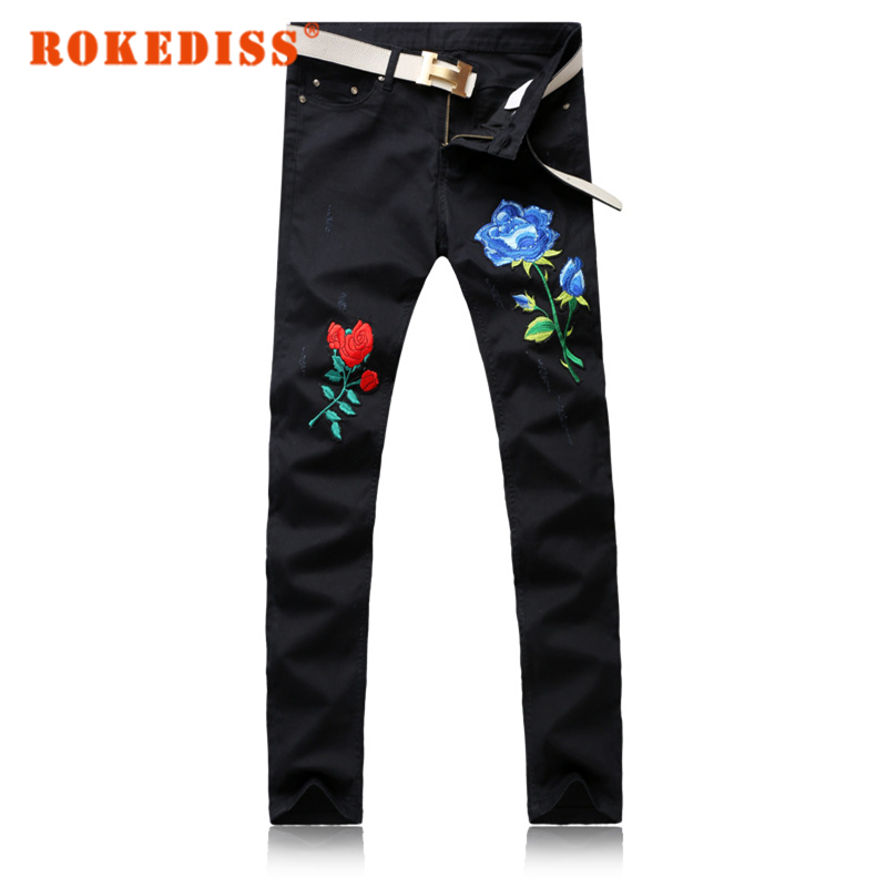 Autumn New products Men s clothing fake designer clothes Roses Washed with water Grinding white Feet