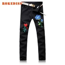 Осенние Новые продукты мужская одежда поддельные дизайнер одежды Розы Промывают водой Шлифовальные белые Ноги джинсы Досуг жан G237