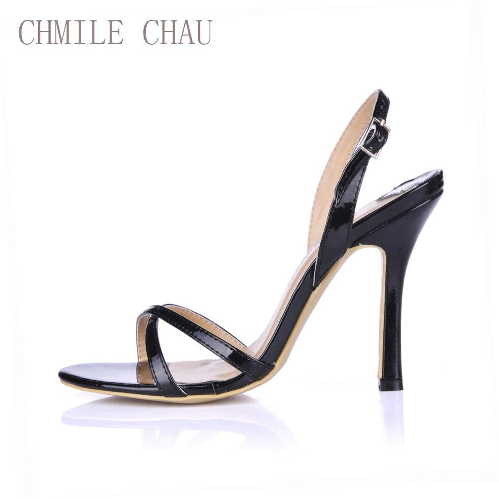 CHMILE CHAU Noir Perle Sexy Parti Femmes Chaussures Stiletto Talon Sangle Arrière Boucle Travail Bureau Sandales Zapatos Mujer Plus Tailles 158-b