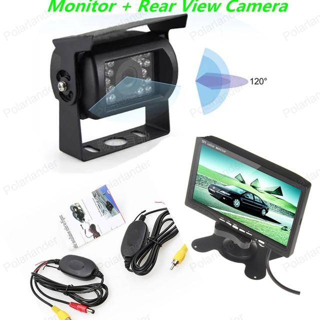 7 Polegada TFT LCD Screen Display a Cores Câmera de Estacionamento para Visão Traseira Do Carro Do Monitor + 18 LED