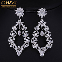 Vintage Design Large Party Earring Jewelry Cubic Zirconia Setting Long Flower Drop Big Size Fancy Earrings For Women CZ087