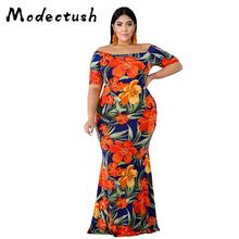 Modecrush 2019 Summer Vintage Bohemian Women Long Floral Maxi Dress Ladies Flower Print Short Sleeve Dresses Elegant Night Party