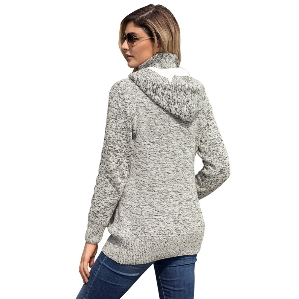 2019 Spring/ Autumn New Arrival Women Knitted Sweater Button Design Solid Color Hooded Coat