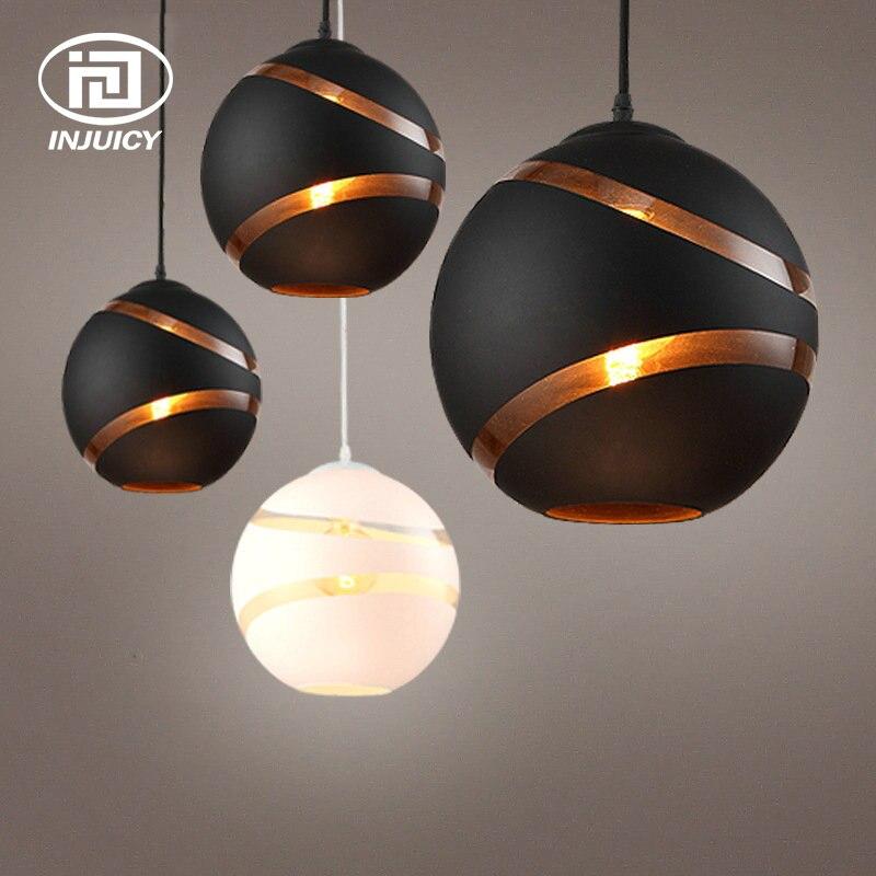 Loft Industrial Nordic Retro Simple LED Pendent Lamp Black White Glass Ball Ceiling Light For Restaurant  Cafe Store Dining Room