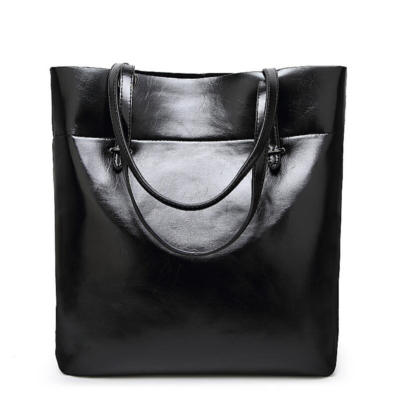Для женщин Повседневное ведро сумки на плечо 2018 модные женские туфли Сумки масло воск кожа большой Ёмкость Tote искусственная кожа сумка