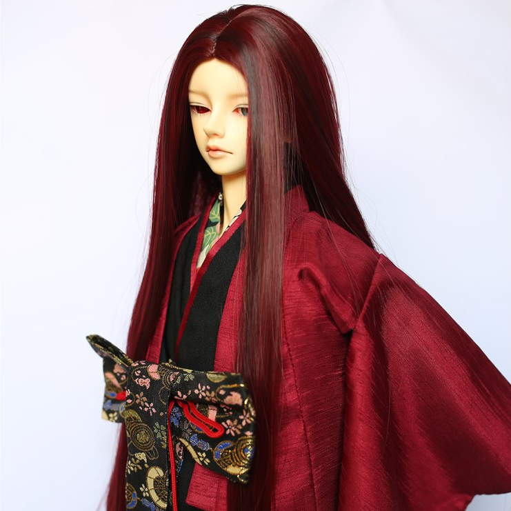 1/3 Bjd SD Doll Wig Long Straight Hair Wine Red black Costume Long BJD Hair Uncle size hair